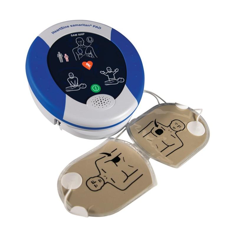HeartSine Samaritan 500P vue avec électrodes